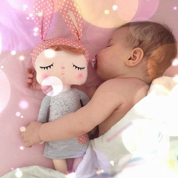 Baby Girl Toy Gifts Stuffed Plush Sleeping Girl Bunny Rabbit Baby Doll Toy Kids Gift