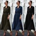 2020 Fashion hot sale Elegant Womens Dress Fashion Solid Color Button Pocket Dress Office Lady Seven Sleeve Dress New Autumn