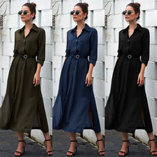 2020 Fashion hot sale Elegant Womens Dress Fashion Solid Color Button Pocket Dress Office Lady Seven Sleeve Dress New Autumn