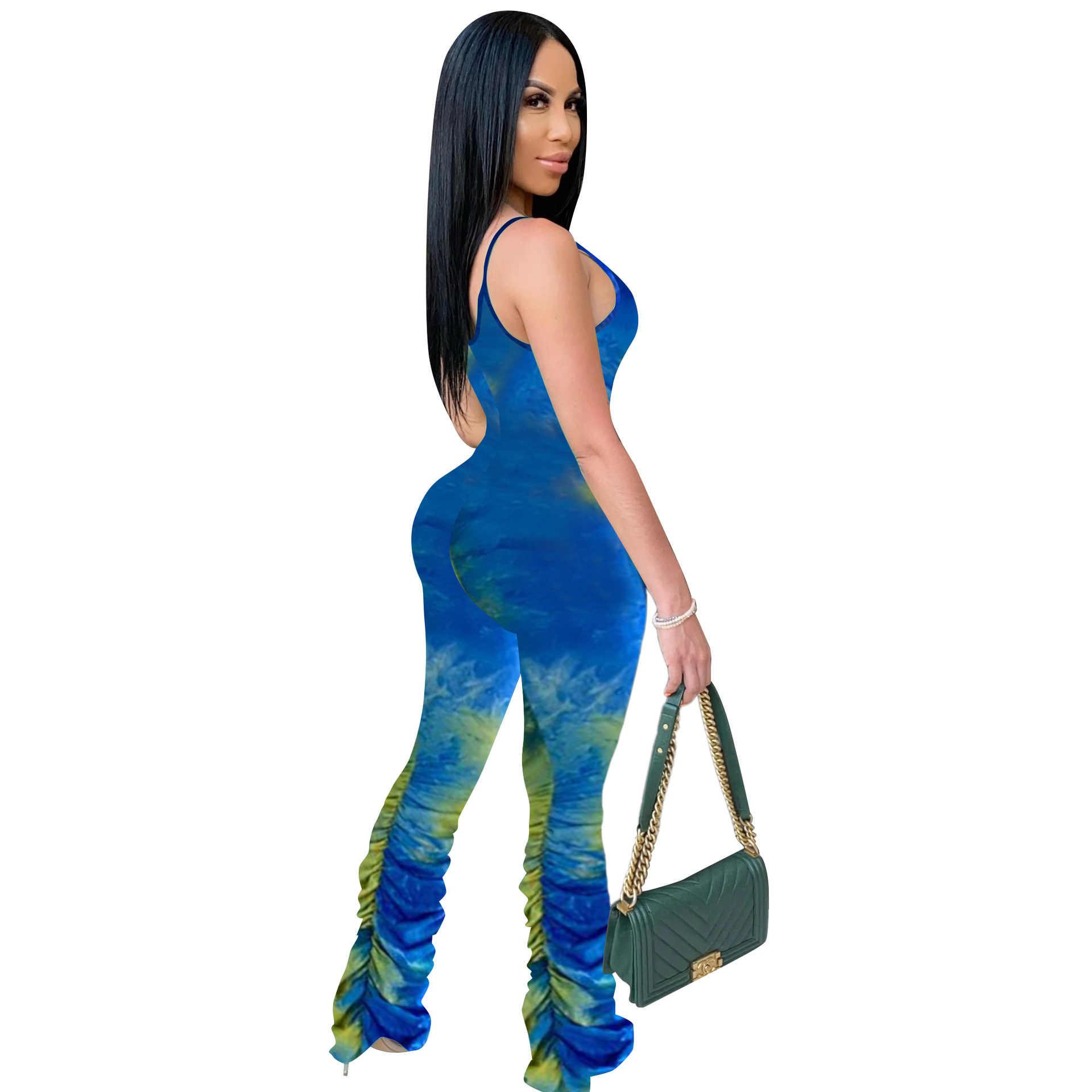 Seksi batik baskı Bodycon tulum kadınlar yaz 2020 salon giyim kolsuz yığılmış Liggings pantolon vücut Rompers bayan tulum