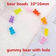 20 pçs 16*10mm gummy bear encantos flatback contas de resina com buraco colar pingente pulseiras diy fazendo acessórios