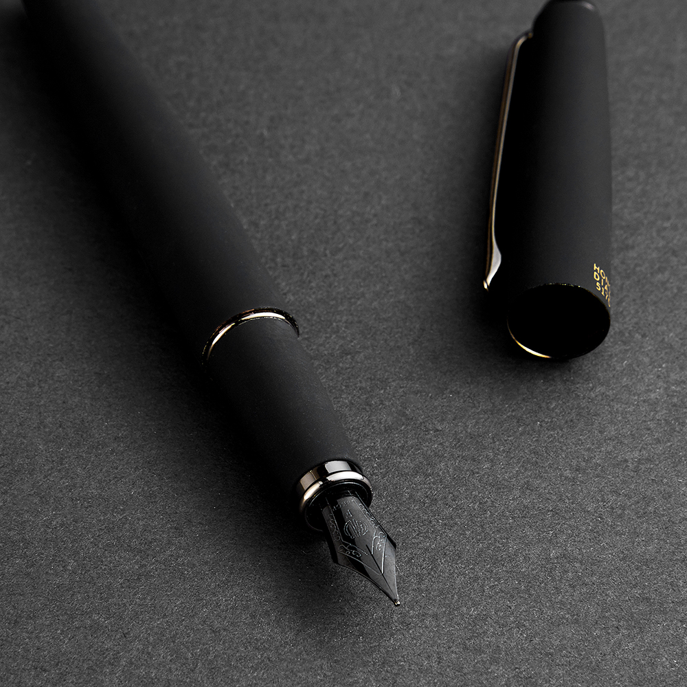 Hongdian 517D Black Metal Fountain Pen Ink Pen Titanium Black Fine Nib