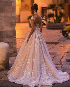 Image 2 - vivians bridal 2019 ins hot floral print wedding dress elegant double v neck sweep train boho crystal yarn luxury bridal dress