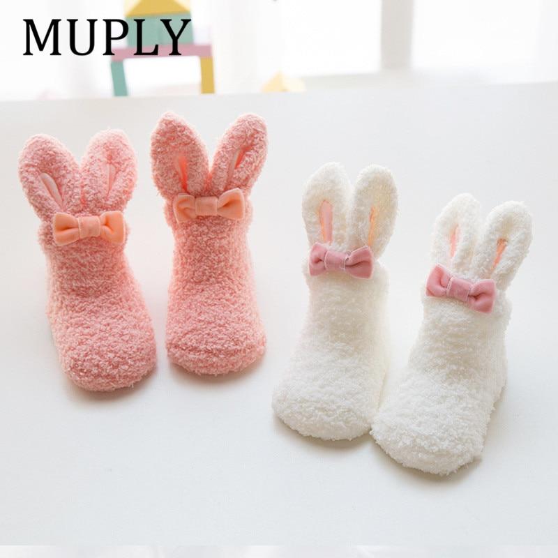 Winter Dicke Korallen Fleece Baby Mädchen Jungen Socken Niedlichen Kaninchen Lange Ohr Kaninchen Warme Anti-slip Socken Mädchen Weichen kleinkind Socken