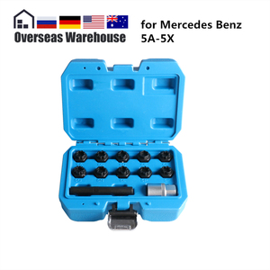 12Pcs Car Wheel Lock Set Kit Installing Removing for Mercedes Benz Special Anti-theft Screw Sleeve 1/2