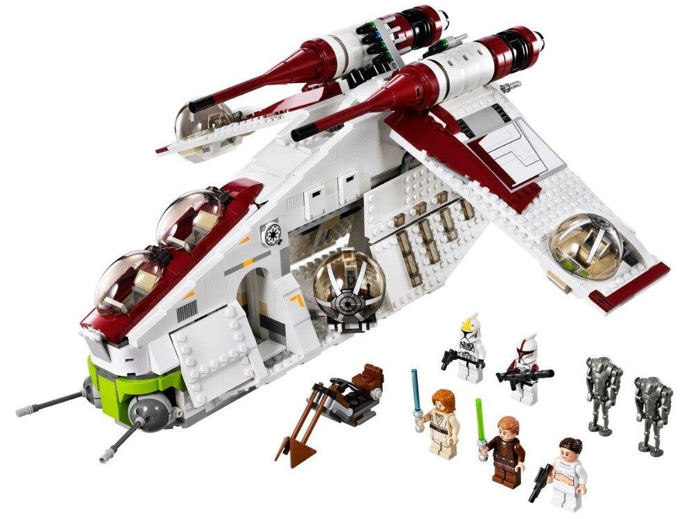 En stock75021 étoile de guerre jouet république Gunship Kit ensemble Compatible Lepinblock 05041 Star Wars enfants éducatifs bloc jouet