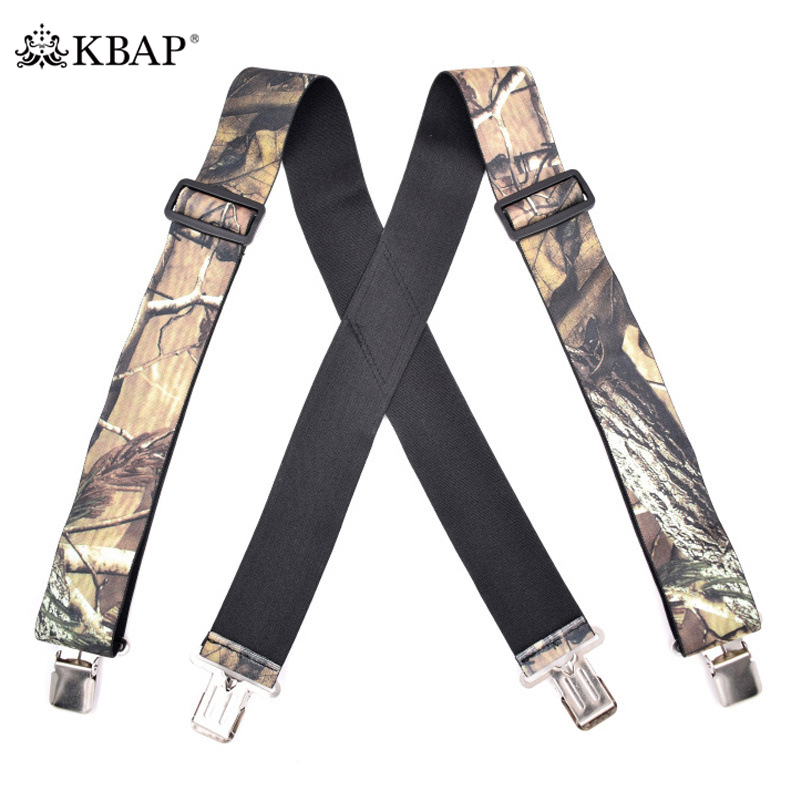 Men's Adjustable Elastic Camouflage Suspenders Heavy Duty Braces Shoulder Strap Suspensorio For Men Outdoor Fishing Hunting
