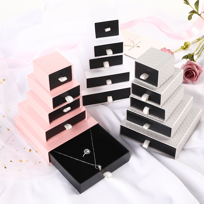 10pcs/lot Jewelry Box Black Craft Paper Pure Color With Sponge For Earrings Bracelets Necklaces Display Case Gift Box