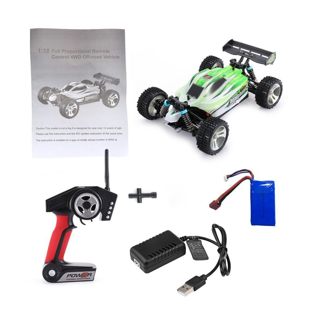 WLtoys A959B 2.4G 1/18 Full Proportional Remote Control 4WD Vehicle 70KM/h High Speed Electric RTR Off-road Buggy RC Car
