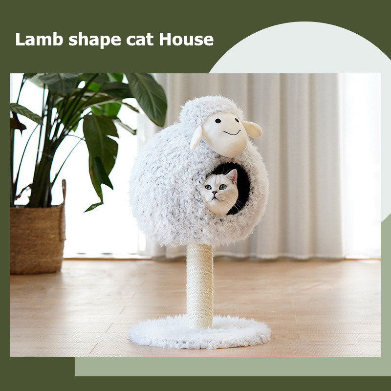 Lamb shape House Cat Bed Sisal Rope Removable Cat Tree for Cat Tree christmas Cat Cave Self Warming Pet Beds Pet Supplies