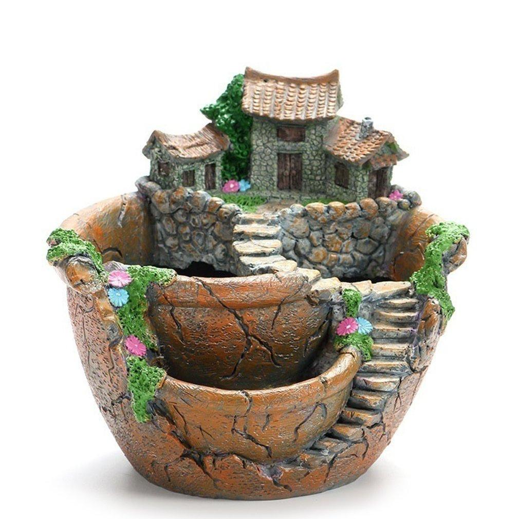 Creative Models Garden Succulent Flower Pot Micro Landscape Resin Pots Crafts Desktop Ornaments Garden Supplies Decoration