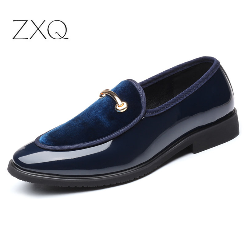 US $19.99 40% OFF|2019 New Fashion Men Formal Patent Leather Flat Slip on Dress Shoes Casual Pointed Toe Solid Color Wedding Loafers Men Shoes in