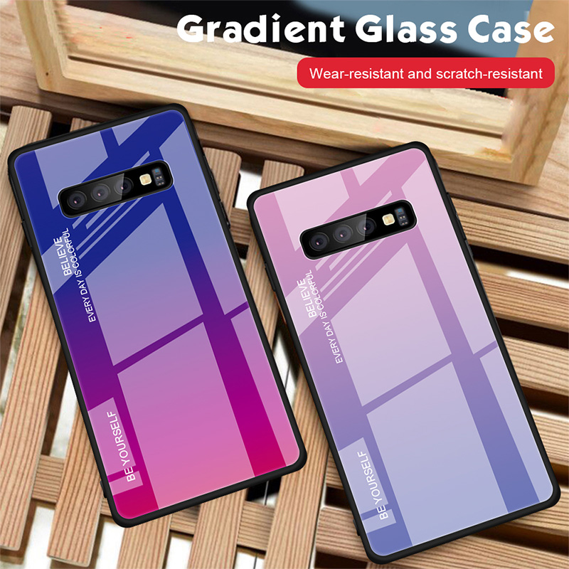 Tempered Glass Case for Samsung Galaxy A7 A8 A9 A6 Plus A5 TPU Bumper Colorful Shell Anti-fall Cover for Samsung J8 J6 J4 Plus image