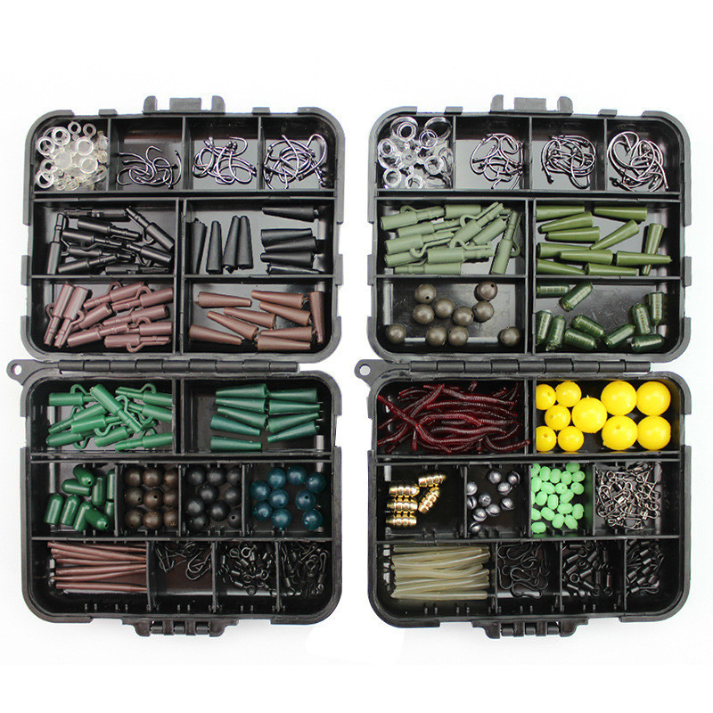189pcs/lot Carp Fishing Tackle Kit Box Lead Clips/Beads/Hooks/Tubes/Swivels Baiting Terminal Rigs Carp Fishing Tackle Box