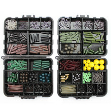 189pcs/lot Carp Fishing Tackle Kit Box Lead Clips/Beads/Hooks/Tubes/Swivels Baiting Terminal Rigs Carp Fishing Tackle Box 40pcs set carp fishing lead buffer beads carp coarse rig with quick change swivels pesca tackle accessories fishing tools