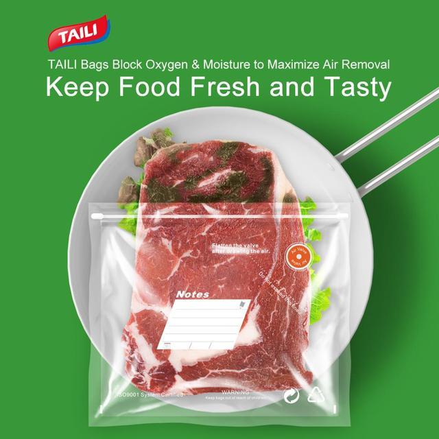 TAILI sacs réutilisables d'économie de Vide sac de stockage de nourriture sac de Compression pour garder les aliments frais et savoureux Sous Vide organisateur de réfrigérateur de cuisine 5