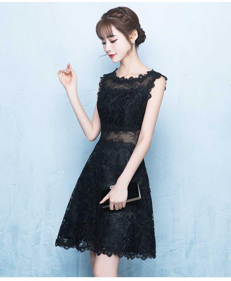 Qipao cheongsam gelinlik elbise siyah seksi perspektif kadınlar akşam parti elbise dantel kolsuz Cheongsam geliştirilmiş A-line