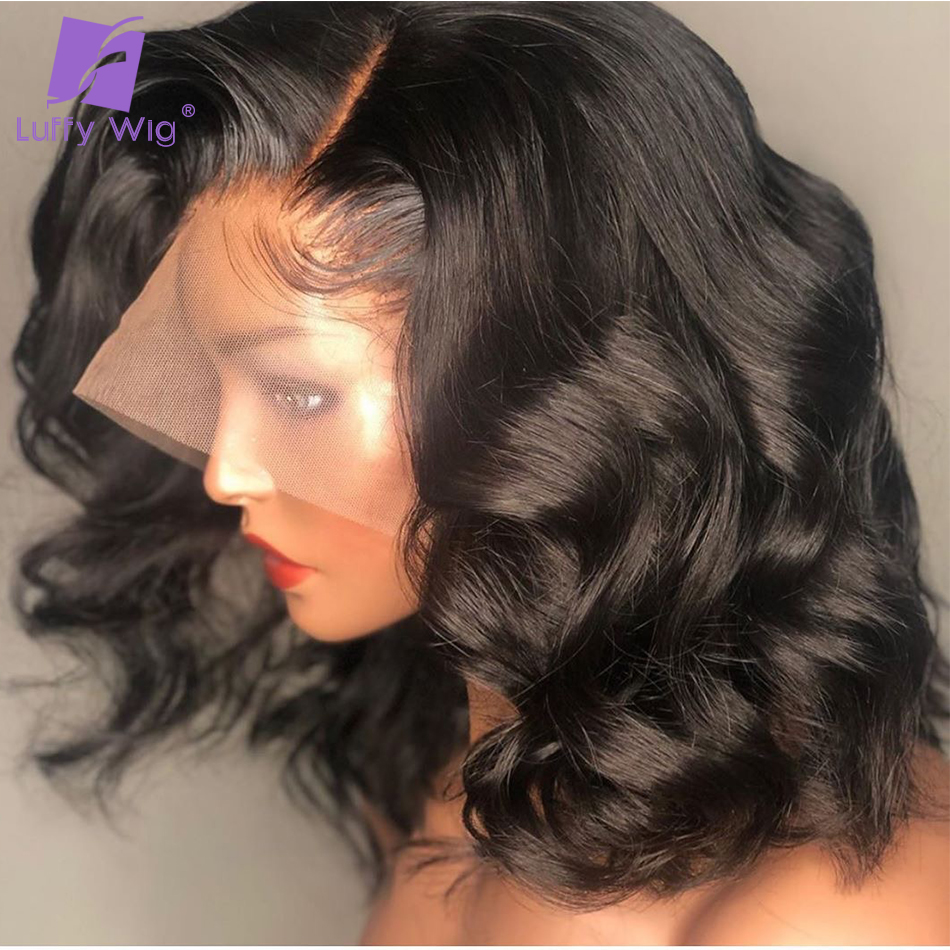 13x6 Lace Front Human Hair Wigs Fake Scalp Natural Wave Bleached Knots PrePlucked Brazilian Remy 150density For Women LUFFY