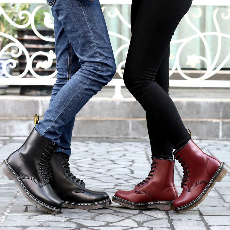 ผู้หญิงผู้ชายแฟชั่นของแท้หนังมาร์ตินข้อเท้ารองเท้าสำหรับสุภาพสตรี LACE-up Dr. รถจักรยานยนต์รองเท้าอุ่นฤดูหนาวรองเท้า