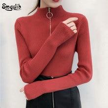 2019 Autumn Winter Women Turtleneck Knitted Sweater Pullover Slim Long Sleeve Zipper Femme Warm solid Jumper Tops