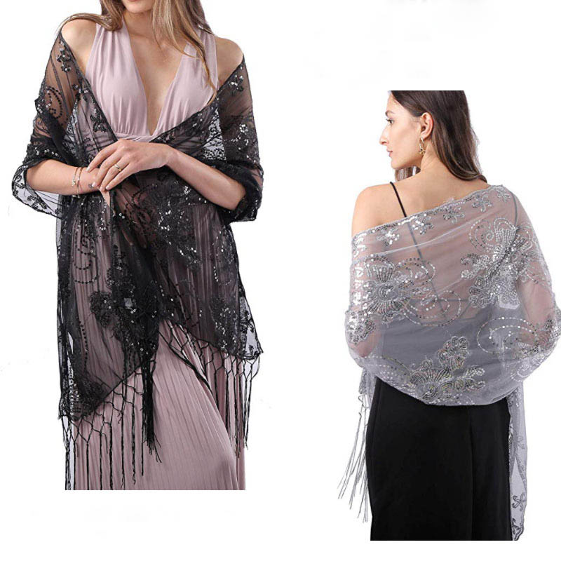 Prom Evening Party Shawls And Wraps Women Bolero 160*58cm Long Sequins Ladies Bolero Shrug Wedding Bridal Bolero Cape For Dress