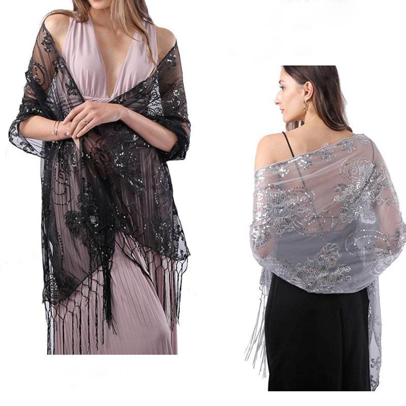 Prom Evening Party Shawls And Wraps Women Bolero 160*58cm Long Sequins Ladies Bolero Shrug Wedding Bridal Bolero Cape For Dress