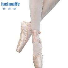 Kızlar Pointe ayakkabı dans bale yetişkin profesyonel kadın balerin düz ayakkabı kadın ipek saten üst şerit uygulama ayakkabı