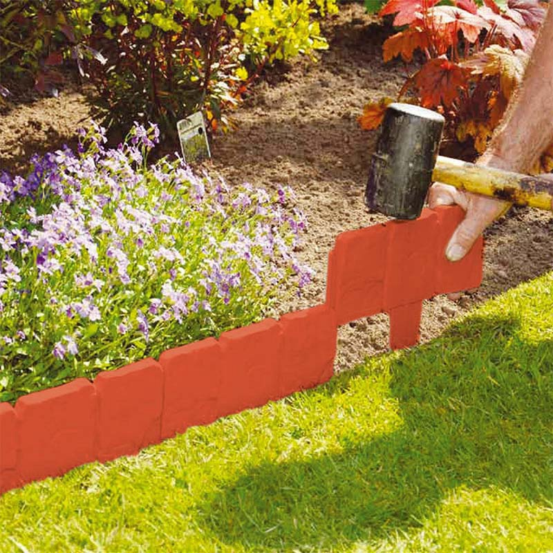 10Pc Orange Red Garden Fence Edging Cobbled Stone Effect PP Lawn Edging Plant Border Decorations Flower Bed Border