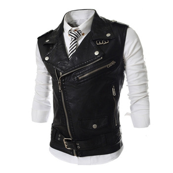 High Quality Summer Mens Casual Fashion PU Leather Lapel Collar Male Zipper Vest Slim Fit Sleeveless Chalecos Para Hombre