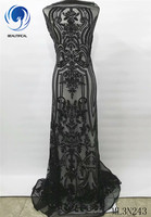 BEAUTIFICAL African Lace Black Sequins Lace Fabrics Evening Party Dress French Tulle Tissu Embroidery Lace with Sequins ML3N243