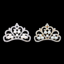 Pearl Crown Rhinestone Buttons for Diy Girls Women Hair Accessories Wedding Party Bride Hair Embellishment Buttons(China)