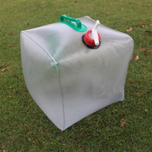 20L Durable Transparent PVC Large Collapsible Drinking Water Bag Foldable Water Carrier Container Bottle For Outdoor Camp Picnic 15 liters outdoor foldable collapsible cold drinking water container camping hiking picnic bucket storage carrier