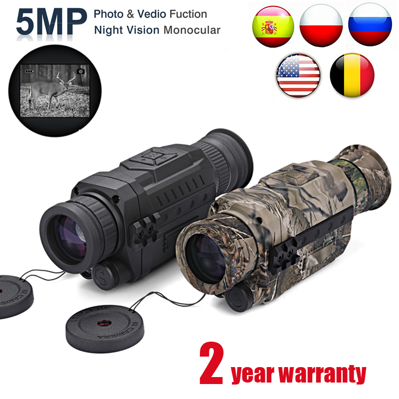 Monoculars 5X40 Optics Digital Night-Vision Infrared 200m-Range WG540 with 8G Tf-Card