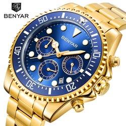 Benyar najlepsze marki luksusowy męski zegarek chronograf wodoodporny wojskowy męski zegar pełny stalowy sportowy zegarek relogio masculino|Zegarki kwarcowe|   -