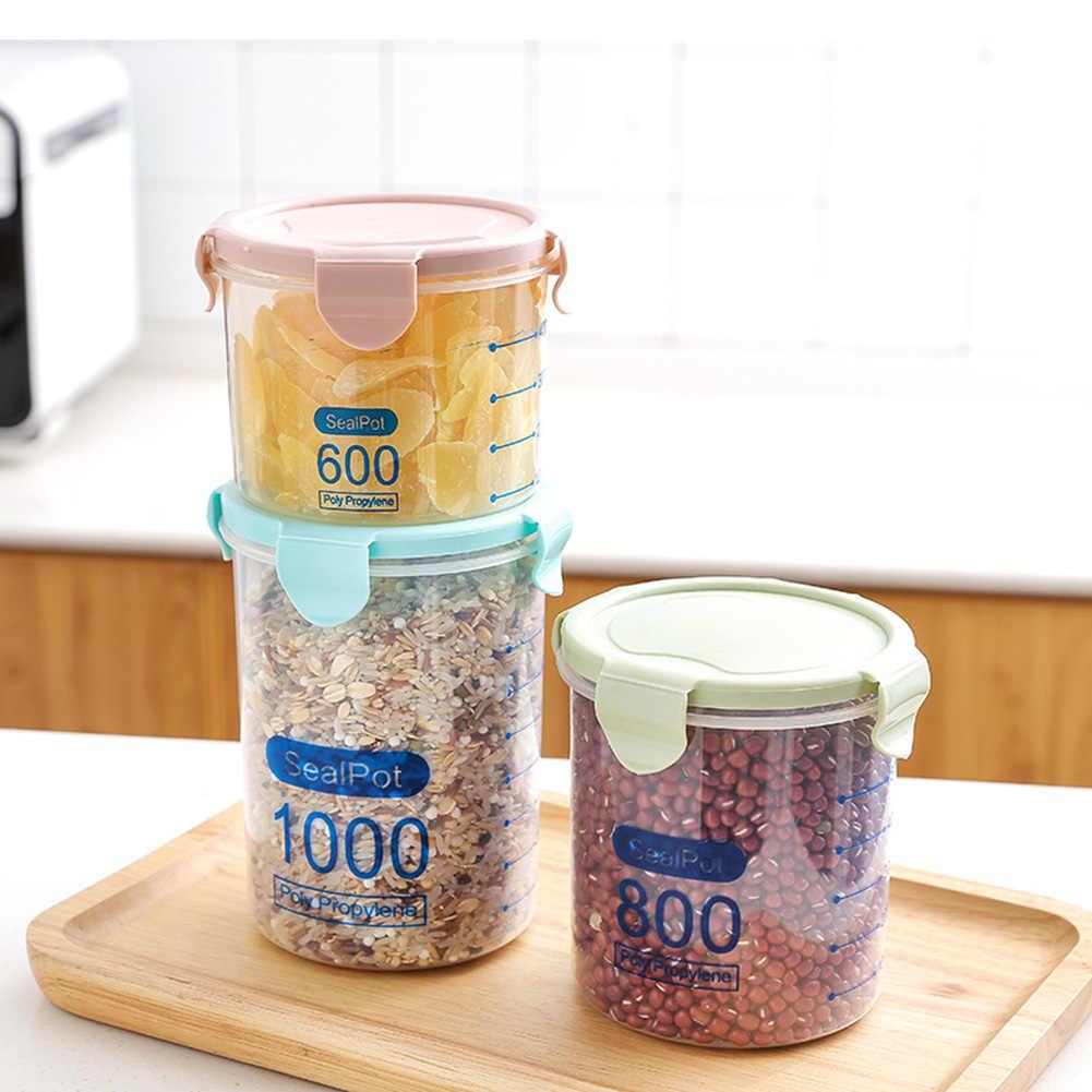 600/800/1000ml kuchnia przezroczyste pudełko do przechowywania butelki z zatyczką przyprawy fasoli herbaty ziarna słoiki pudełko do przechowywania uszczelnienie może do przechowywania w kuchni