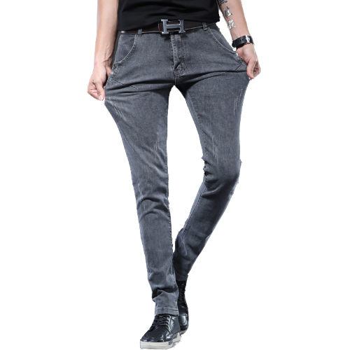 Man Grey Jeans Pencil Pants Spring Summer Streetwear Slim Fit Casual Mens Fashion Straight Long Denim Trousers For Young