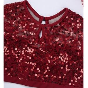 Image 5 - Costume de danse lyrique pour filles, robe de Ballet, haut court à paillettes, sans manches, avec ourlet plongé, ensemble de jupe en mousseline pour danser