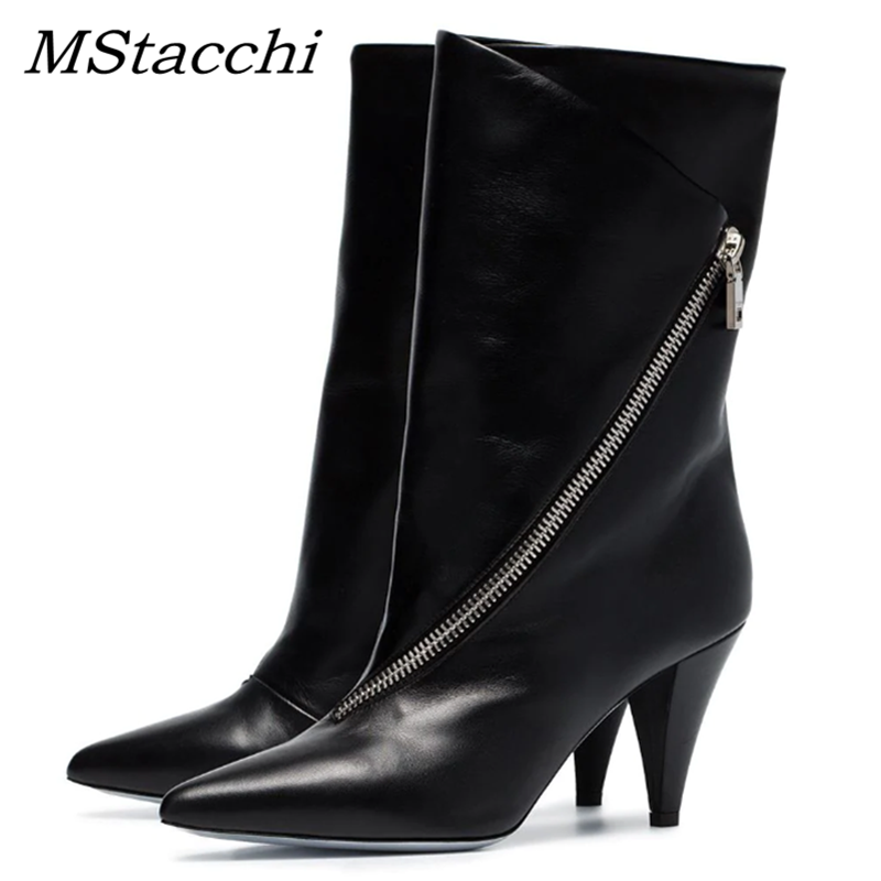 MStacchi Fashion Women Diagonal Zipper Mid-Calf Boots Women Pointed Toe Strange Triangle High Heel Shoes Woman Party Botas Mujer