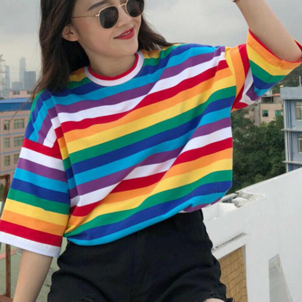 原宿レインボーストライプシャツストリート女性の洋服 2020 韓国半袖カミーサ mujer 秋 tシャツファムプラスサイズトップス