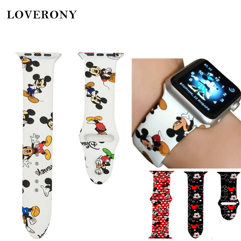 LOVERONY Mickey Watchband 38mm 40mm 42mm 44mm For Apple Watch Series 5/4/3/2/1 Silicone Watch Strap For Apple I Watch Wristband