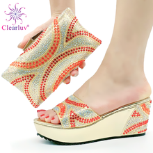 Shoes Sandals Italian-Style African Women Slippers Nigerian High-Quality Slingbacks Bag-Set