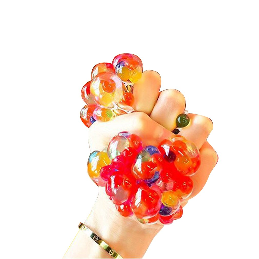 Creative Students Decompression Grape Ball Venting Toy Squeezing Stress Relief Toy Crystal Beads Ball Squishy Ball