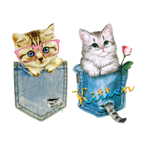 Patches Pocket Cats Stickers Diy Iron On Parches Denim For Clothing Bag Fashion Washable Easy Use Heat Transfer Vinyl Stickers(China)