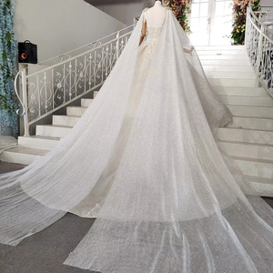 Image 2 - HTL973 ball gown wedding dresses detachable sleeve shawl o neck bow belt bead wedding gowns with tail glitter robe mariage femme