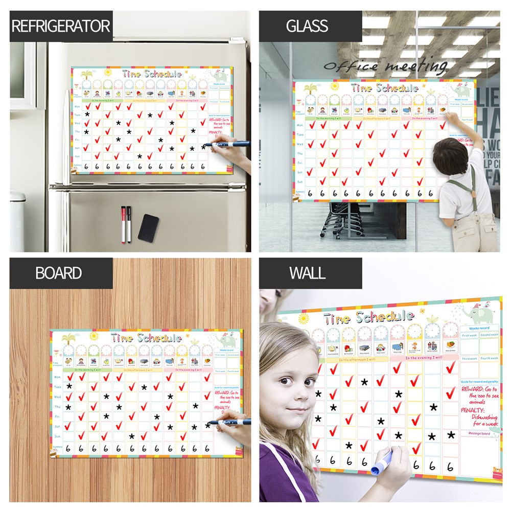 Magnetic Erasable Time Schedule Calendar WhiteBoard Chore Daily Weekly Planner Writing To-Do List Kids Reward Chart Wall Sticker 6