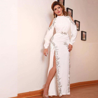 Eightree White Lace Evening Dress Appliques Side Slit Formal Prom Party Dress Vestidos De Fiesta De Noche Long Sleeves Prom Gown