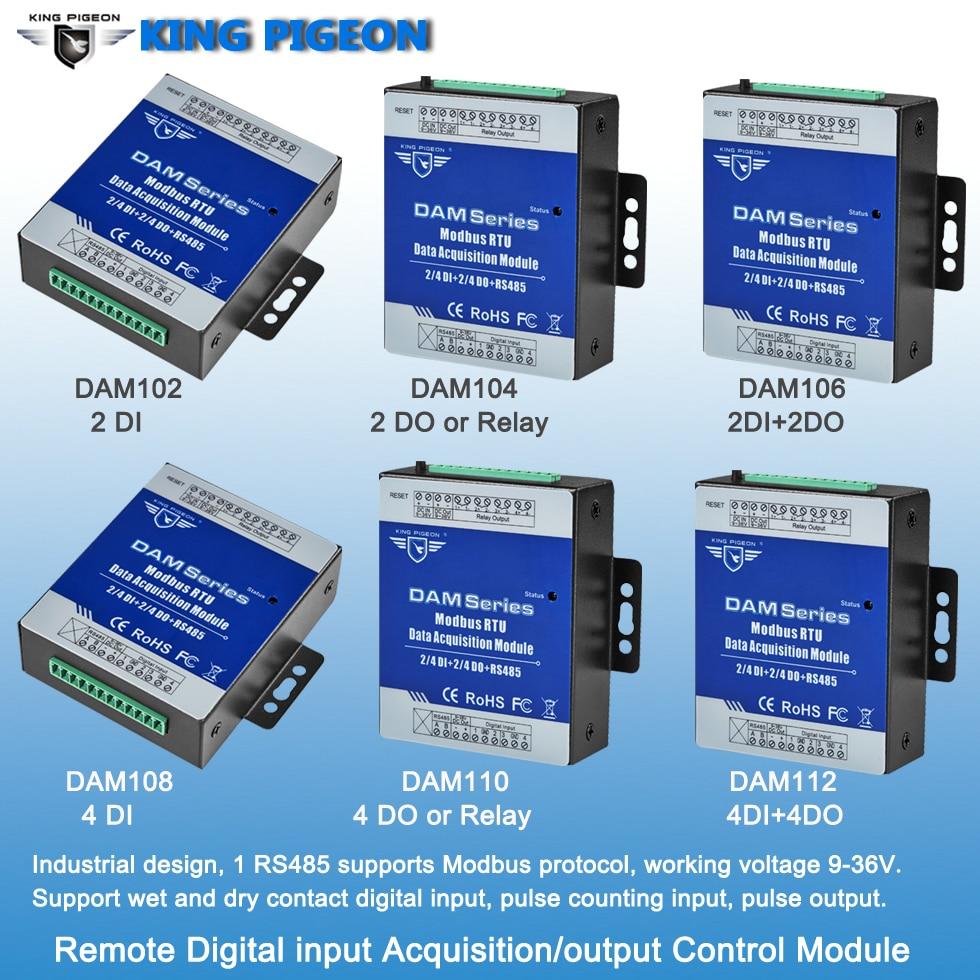 Купить с кэшбэком Industrial Grade Remote IO Module RTU for Industrial Energy Monitor & Flow Meter AIN+Temperature Modbus RTU Remote IO DAM124