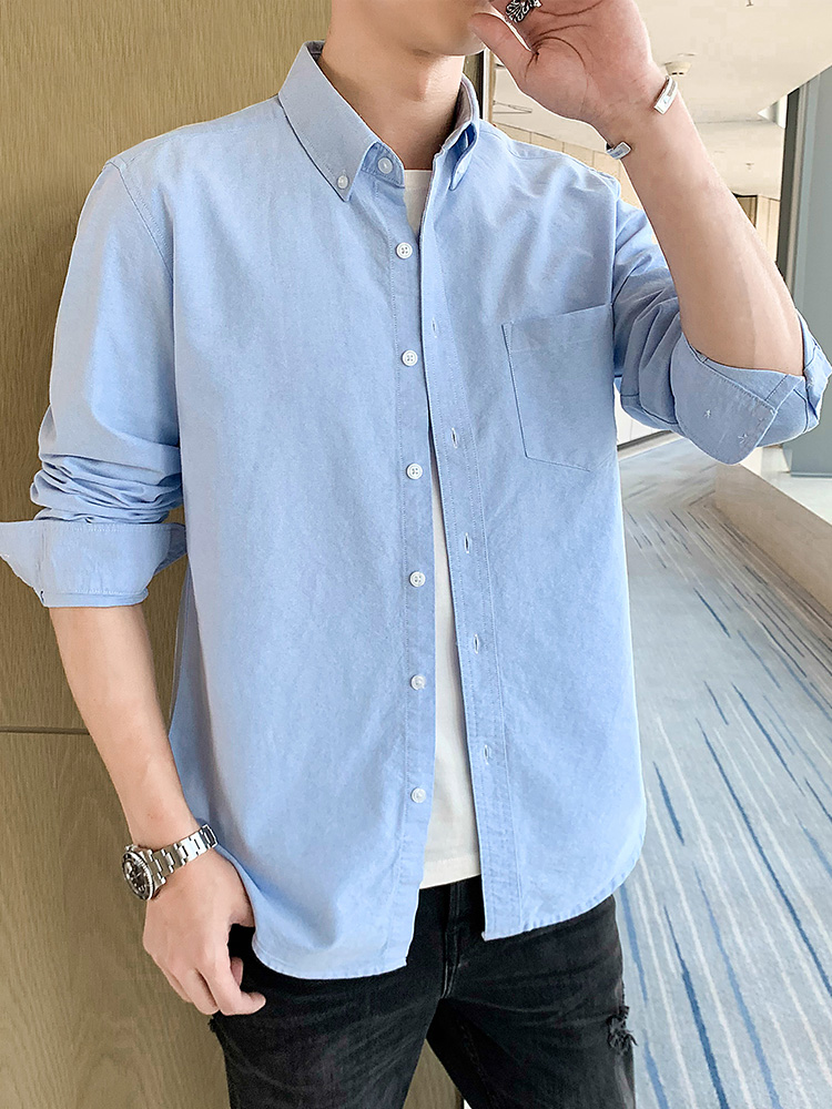 2020 new Customize men shirt long sleeve personalize solid quality long sleeve shirt A454 printing