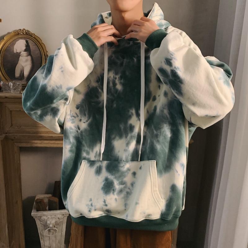 Autumn Hoodies Men Fashion Tie Dyed Printed Casual Cotton Hoodie Men Hooded Sweatshirt Man Streetwear Loose Hip Hop Hoody M-5XL