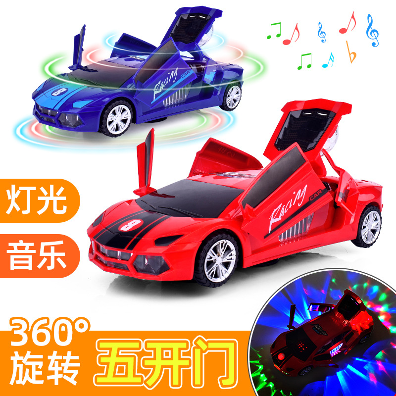 Light And Sound Electric Toy Car Five Open Door Universal Rotating Stunt Car CHILDREN'S Toy